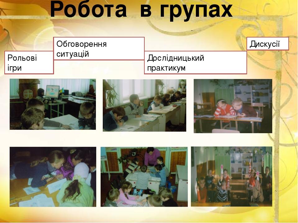 Робота в групах Рольові ігри Обговорення ситуацій Дослідницький практикум Дискусії