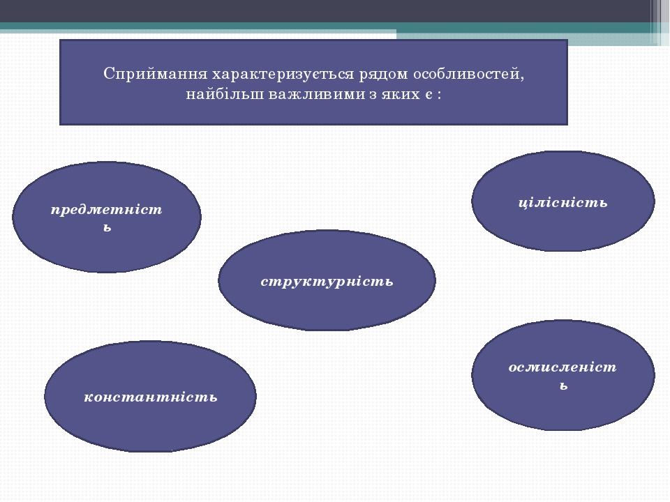 Сприймання характеризується рядом особливостей, найбільш важливими з яких є : предметність цілісність структурність константність осмисленість