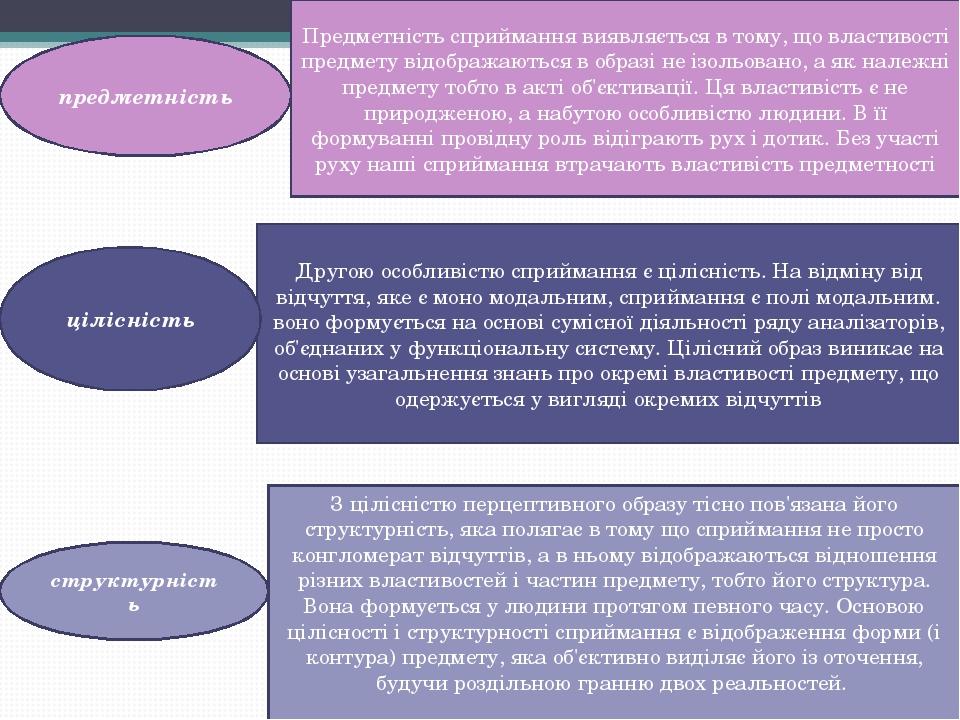 Другою особливістю сприймання є цілісність. На відміну від відчуття, яке є моно модальним, сприймання є полі модальним. воно формується на основі с...