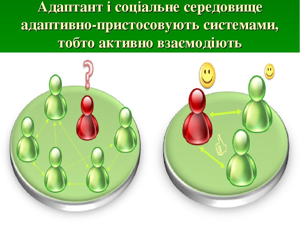 Адаптант і соціальне середовище адаптивно-пристосовують системами, тобто активно взаємодіють