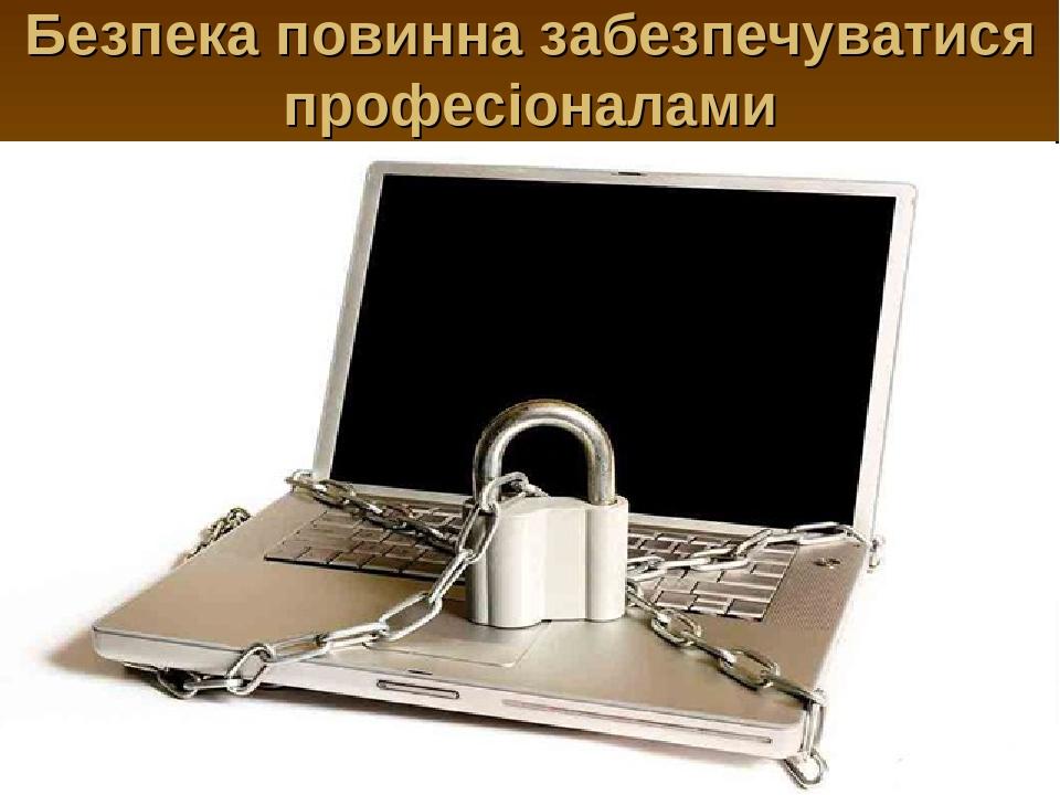 Безпека повинна забезпечуватися професіоналами