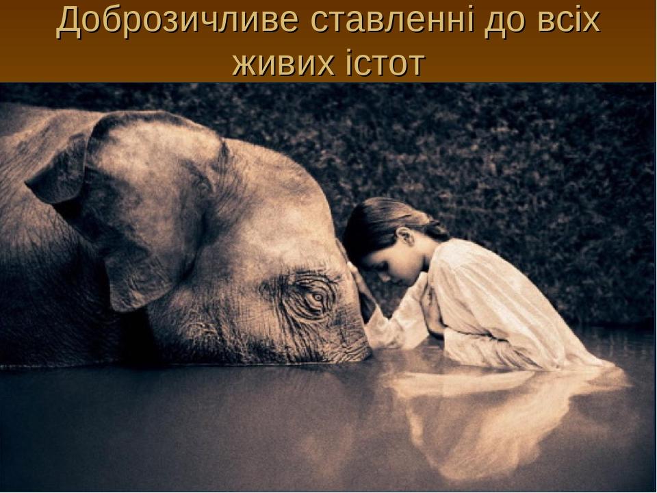 Доброзичливе ставленні до всіх живих істот