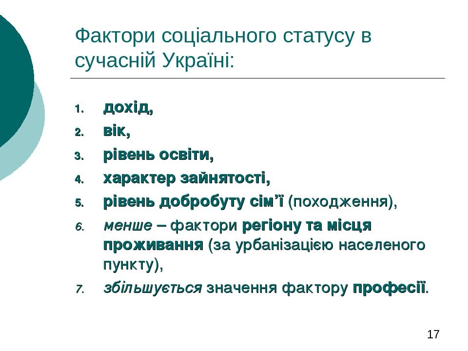 Фактори соціального статусу в сучасній Україні: дохід, вік, рівень освіти, характер зайнятості, рівень добробуту сім'ї (походження), менше – фактор...