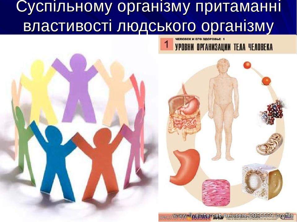 Суспільному організму притаманні властивості людського організму