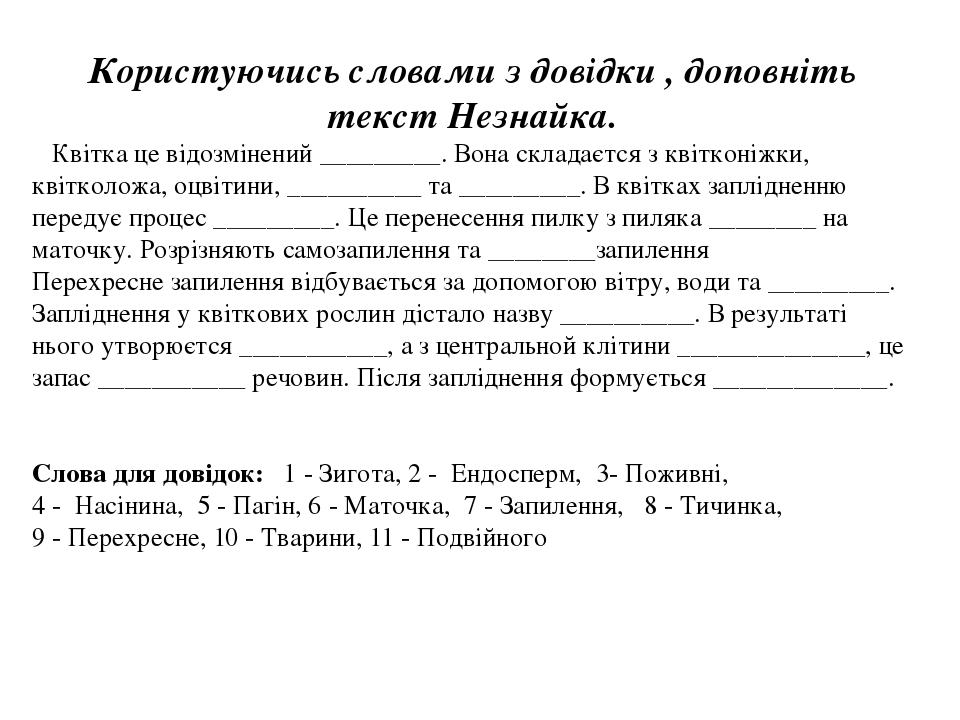 Користуючись словами з довідки , доповніть текст Незнайка. Квітка це відозмінений _________. Вона складаєтся з квітконіжки, квітколожа, оцвітини, _...