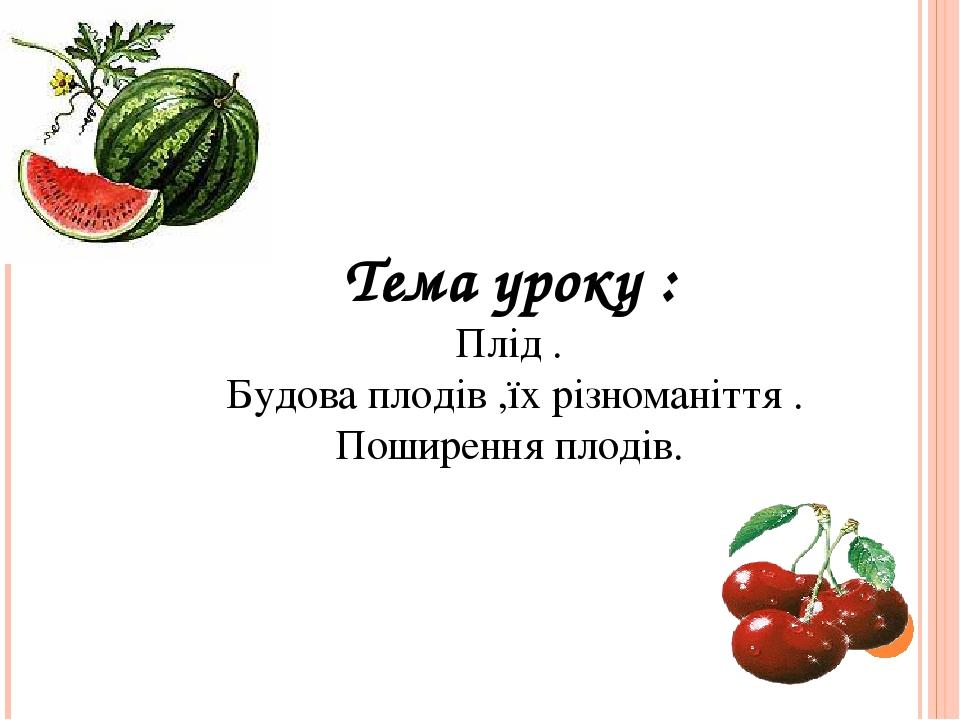 Тема уроку : Плід . Будова плодів ,їх різноманіття . Поширення плодів.