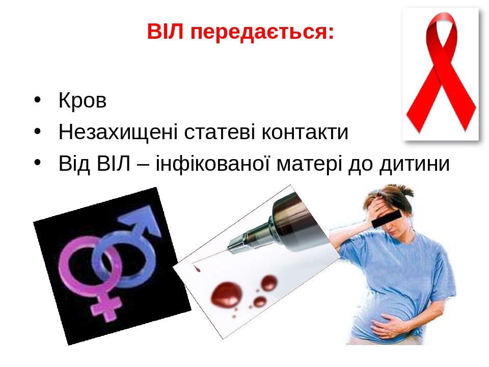 ВІЛ передається: Кров Незахищені статеві контакти Від ВІЛ – інфікованої матері до дитини