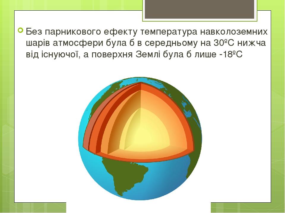 Без парникового ефекту температура навколоземних шарів атмосфери була б в середньому на 30ºС нижча від існуючої, а поверхня Землі була б лише -18ºС