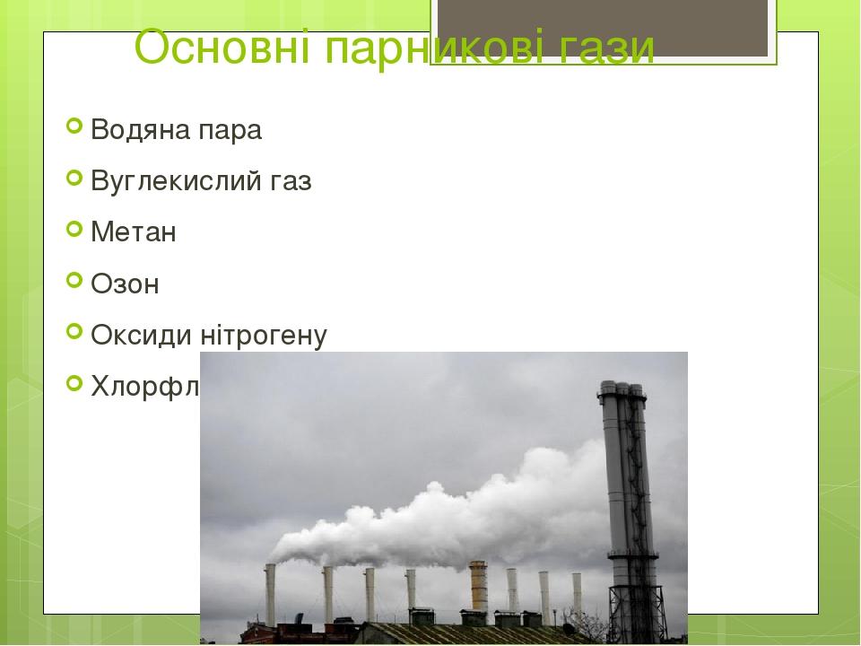Основні парникові гази Водяна пара Вуглекислий газ Метан Озон Оксиди нітрогену Хлорфлуорвуглецеві сполуки (фреони)