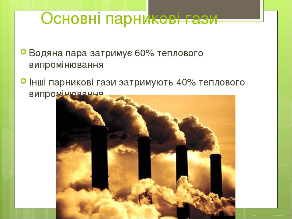 Основні парникові гази Водяна пара затримує 60% теплового випромінювання Інші парникові гази затримують 40% теплового випромінювання