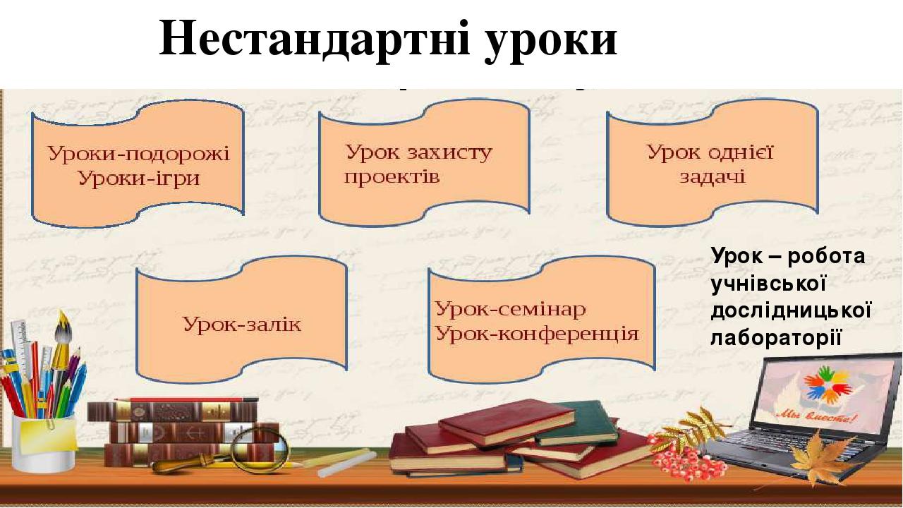 Нестандартні уроки Урок – робота учнівської дослідницької лабораторії