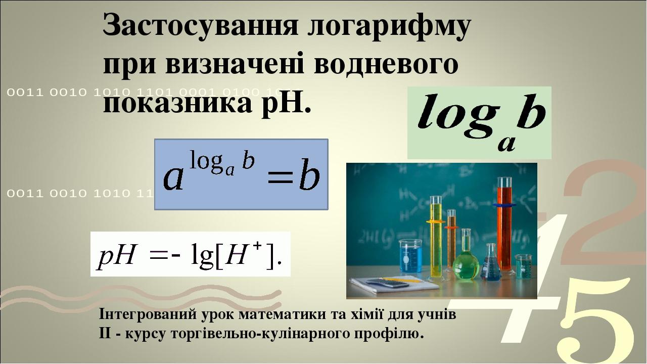 Застосування логарифму при визначені водневого показника рН. Інтегрований урок математики та хімії для учнів ІІ - курсу торгівельно-кулінарного про...