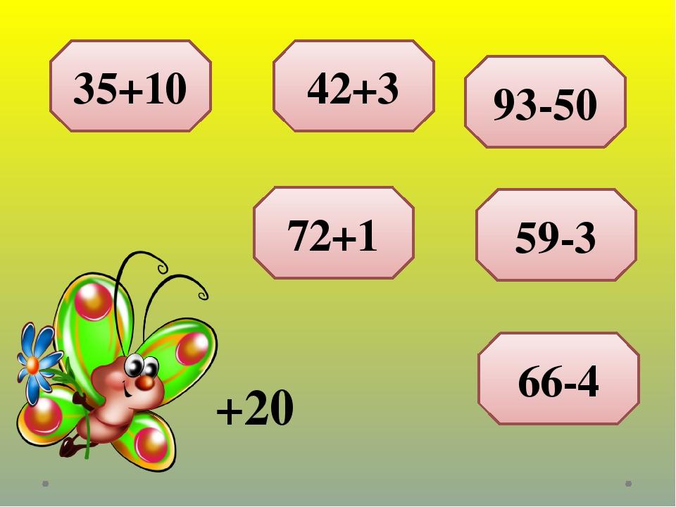 +20 35+10 42+3 93-50 59-3 66-4 72+1