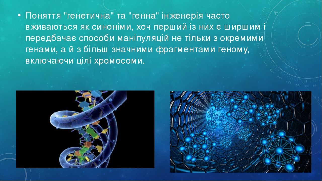 """Поняття """"генетична"""" та """"генна"""" інженерія часто вживаються як синоніми, хоч перший із них є ширшим і передбачає способи маніпуляцій не тільки з окре..."""