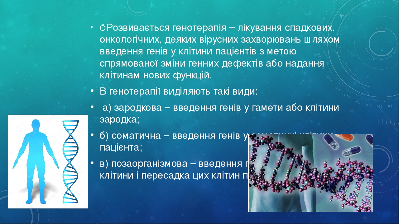 ■ Розвивається генотерапія – лікування спадкових, онкологічних, деяких вірусних захворювань шляхом введення генів у клітини пацієнтів з метою спрям...