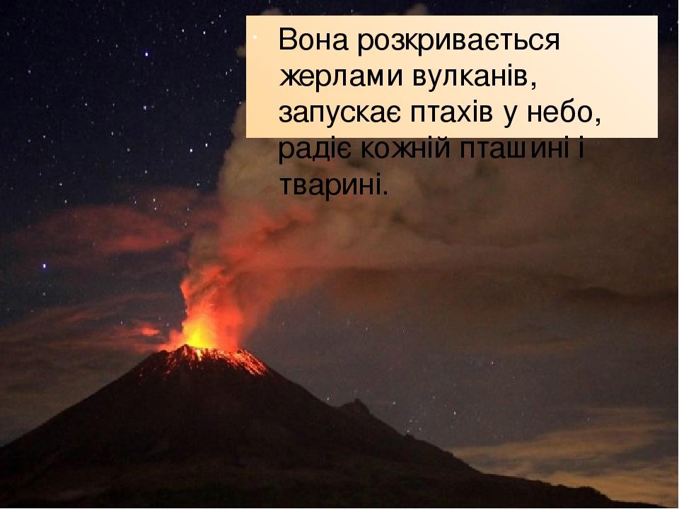 Вона розкривається жерлами вулканів, запускає птахів у небо, радіє кожній пташині і тварині.