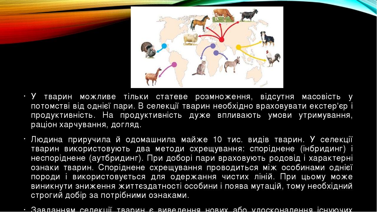 У тварин можливе тільки статеве розмноження, відсутня масовість у потомстві від однієї пари. В селекції тварин необхідно враховувати екстер'єр і пр...