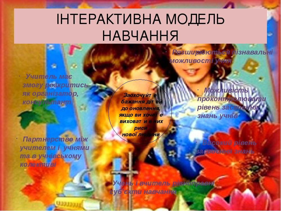 ІНТЕРАКТИВНА МОДЕЛЬ НАВЧАННЯ Заохочуйте бажання дітей до оновлення, якщо ви хочете виховати в них риси нової людини Високий рівень засвоєння знань ...