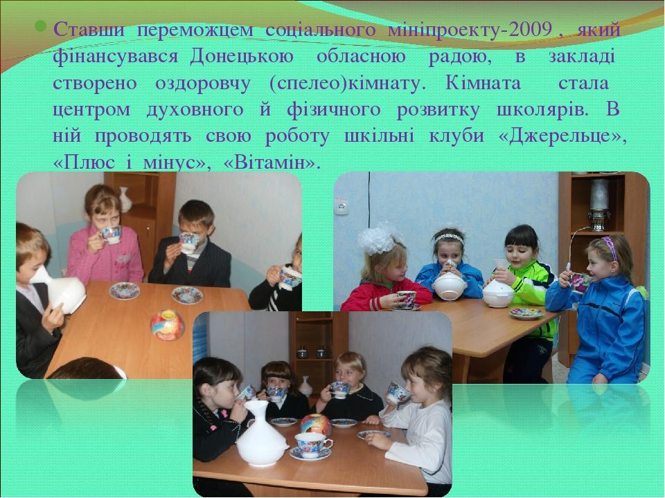 Ставши переможцем соціального мініпроекту-2009 , який фінансувався Донецькою обласною радою, в закладі створено оздоровчу (спелео)кімнату. Кімната ...