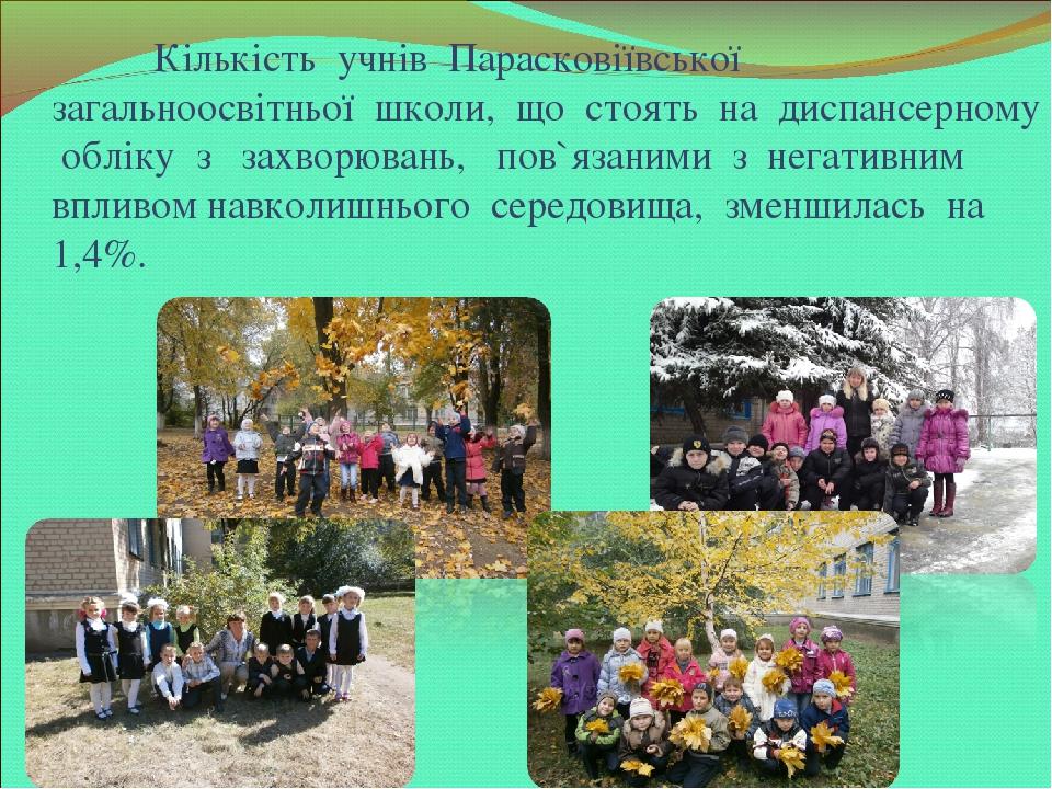 Кількість учнів Парасковіївської загальноосвітньої школи, що стоять на диспансерному обліку з захворювань, пов`язаними з негативним впливом навколи...
