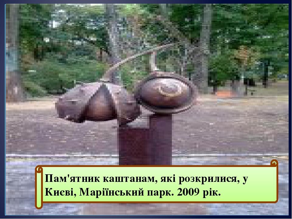Пам'ятник каштанам, які розкрилися, у Києві, Маріїнський парк. 2009 рік.