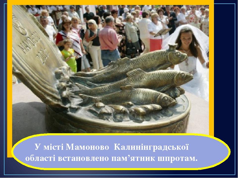 У місті Мамоново Калинінградської області встановлено пам'ятник шпротам.