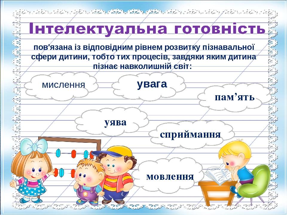 ммм мислення м увага пам'ять уява м сприймання пов'язана із відповідним рівнем розвитку пізнавальної сфери дитини, тобто тих процесів, завдяки яким...