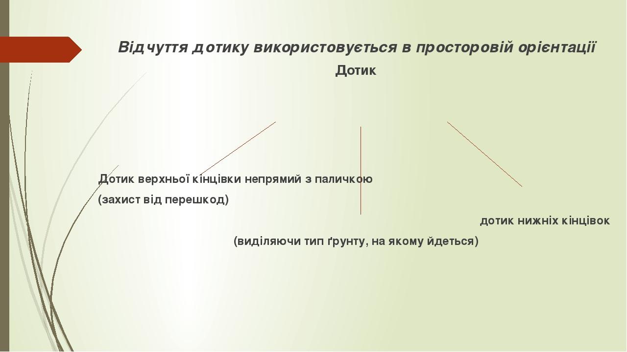 Відчуття дотику використовується в просторовій орієнтації Дотик Дотик верхньої кінцівки непрямий з паличкою (захист від перешкод) дотик нижніх кінц...