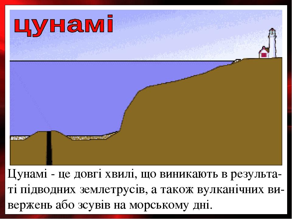 Цунамі- це довгі хвилі, що виникають в результа-ті підводних землетрусів, а також вулканічних ви-вержень або зсувів на морському дні.