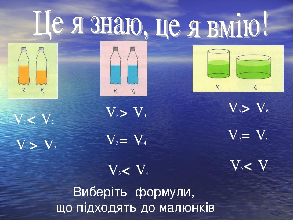 Виберіть формули, що підходять до малюнків