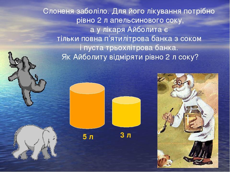 Слоненя заболіло. Для його лікування потрібно рівно 2 л апельсинового соку, а у лікаря Айболита є тільки повна п'ятилітрова банка з соком і пуста т...