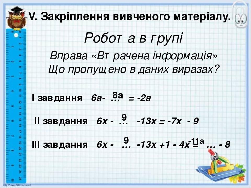 V. Закріплення вивченого матеріалу. Робота в групі Вправа «Втрачена інформація» Що пропущено в даних виразах? І завдання 6a- … = -2a II завдання 6x...