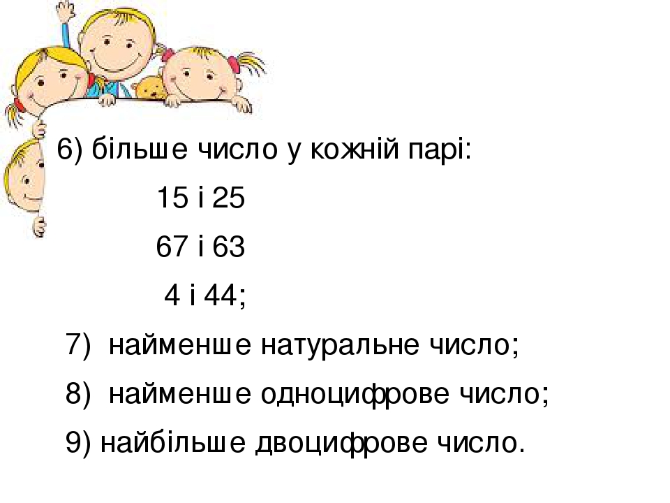 6) більше число у кожній парі: 15 і 25 67 і 63 4 і 44; 7) найменше натуральне число; 8) найменше одноцифрове число; 9) найбільше двоцифрове число.