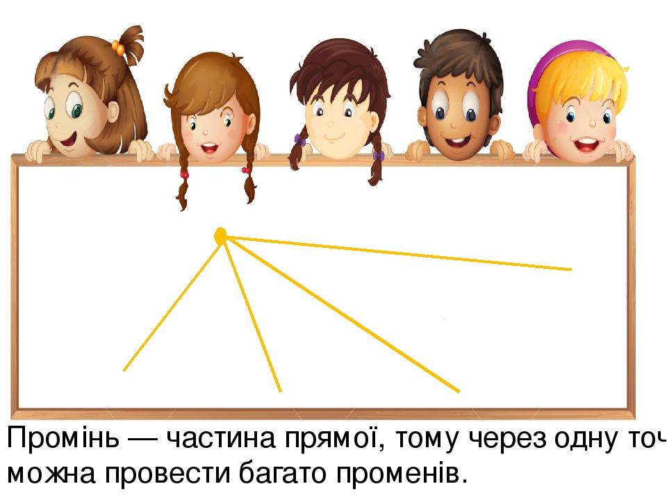 Промінь — частина прямої, тому через одну точку можна провести багато променів.