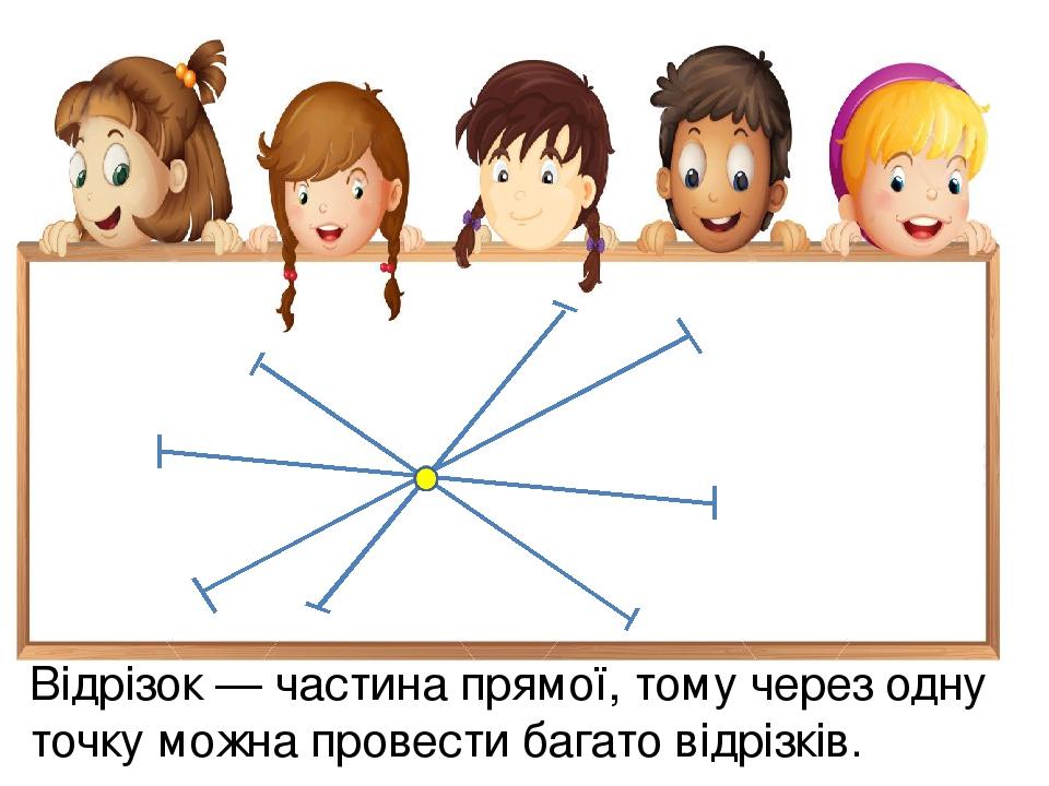 Відрізок — частина прямої, тому через одну точку можна провести багато відрізків.