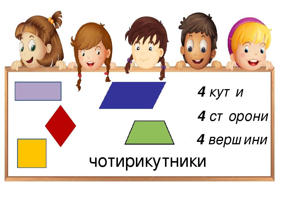 чотирикутники 4 кути 4 сторони 4 вершини