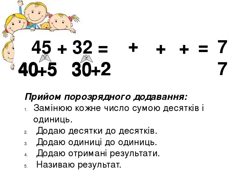 45 + 32 = 40 +5 30 +2 Прийом порозрядного додавання: Замінюю кожне число сумою десятків і одиниць. Додаю десятки до десятків. Додаю одиниці до один...