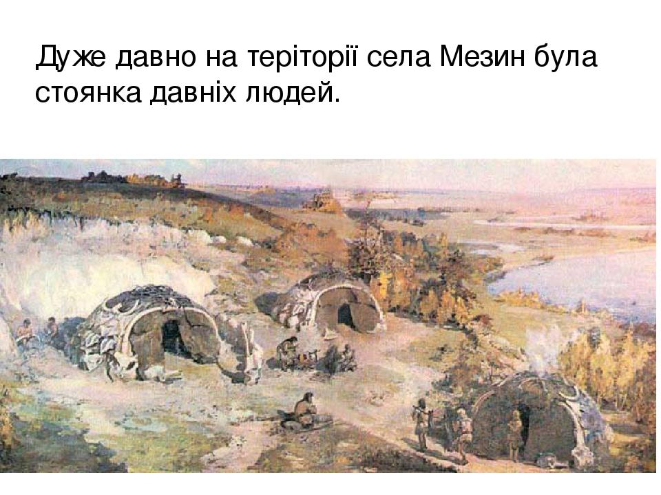 Дуже давно на теріторії села Мезин була стоянка давніх людей.