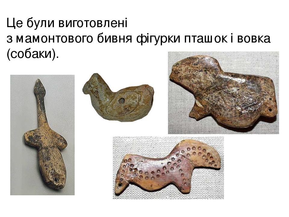 Це були виготовлені змамонтовогобивняфігурки пташок і вовка (собаки).