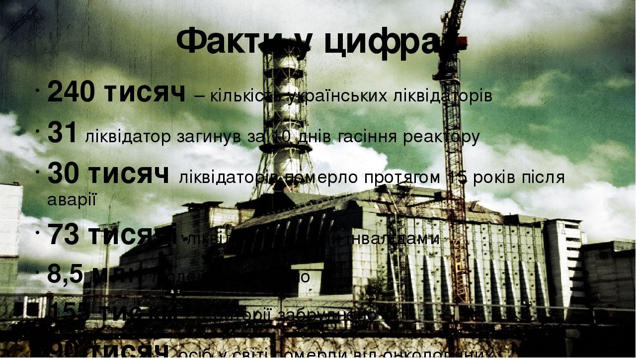 Факти у цифрах 240 тисяч – кількість українських ліквідаторів 31 ліквідатор загинув за 10 днів гасіння реактору 30 тисяч ліквідаторів померло протя...