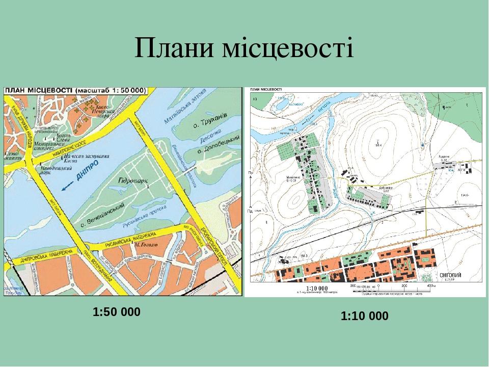 ПЛАН МІСЦЕВОСТІ Плани місцевості 1 50 000 1 10 000 Аерофотознімок і план  місцевості Умовні позначення на ... 0ebe436bf2a6e