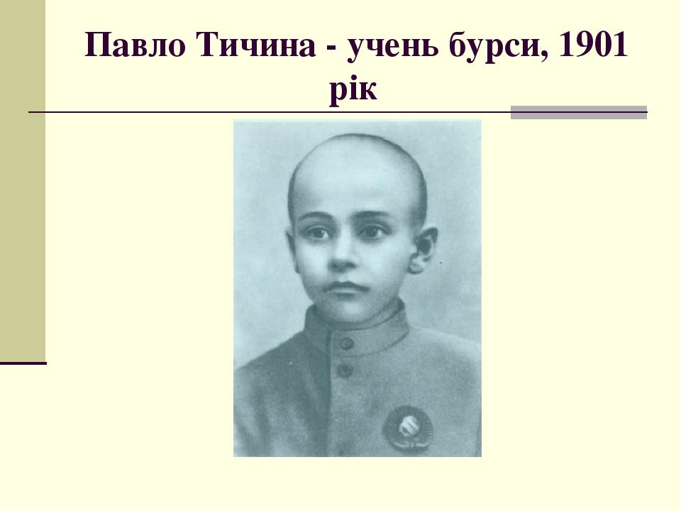 Павло Тичина - учень бурси, 1901 рік