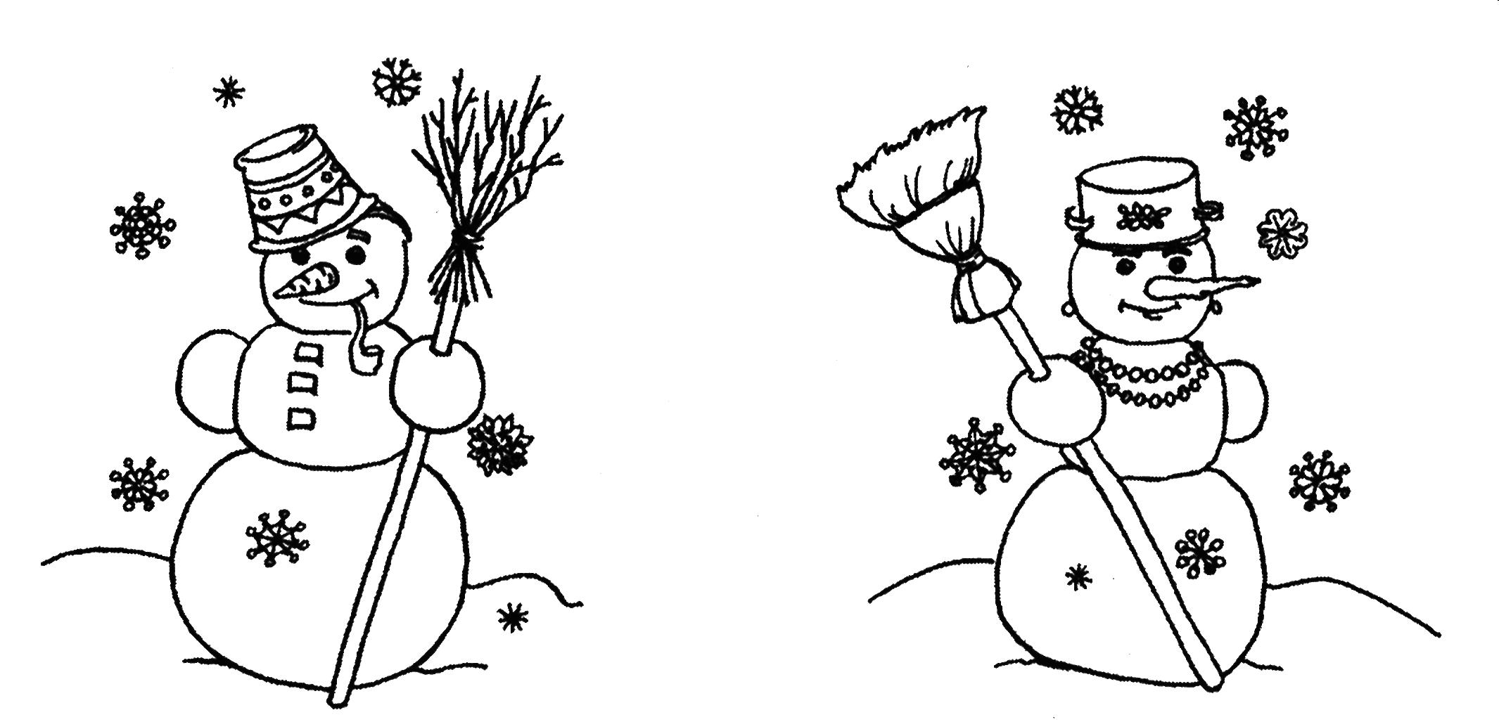 Найди отличия у снеговика на картинке