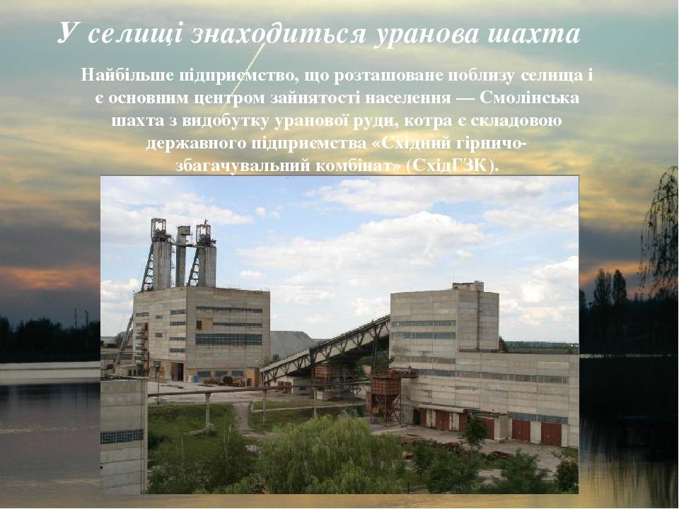 У селищі знаходиться уранова шахта Найбільше підприємство, що розташоване поблизу селища і є основним центром зайнятості населення — Смолінська шах...
