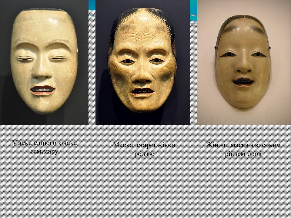 Маска сліпого юнака семімару Маска старої жінки родзьо Жіноча маска з високим рівнем бров