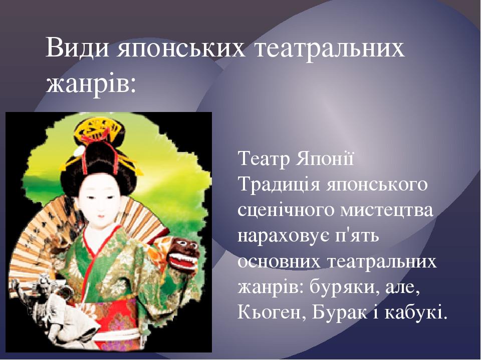Театр Японії Традиція японського сценічного мистецтва нараховує п'ять основних театральних жанрів: буряки, але, Кьоген, Бурак і кабукі. Види японсь...