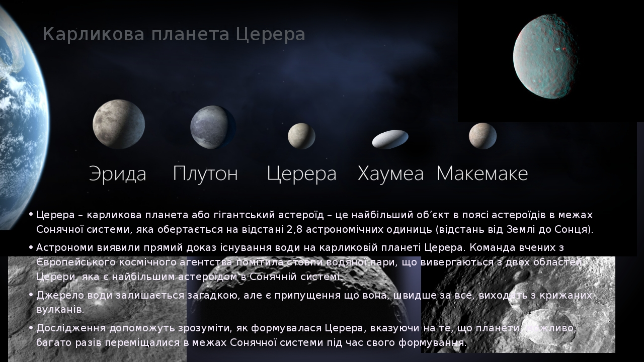 Карликова планета Церера Церера – карликова планета або гігантський астероїд – це найбільший об'єкт в поясі астероїдів в межах Сонячної системи, як...