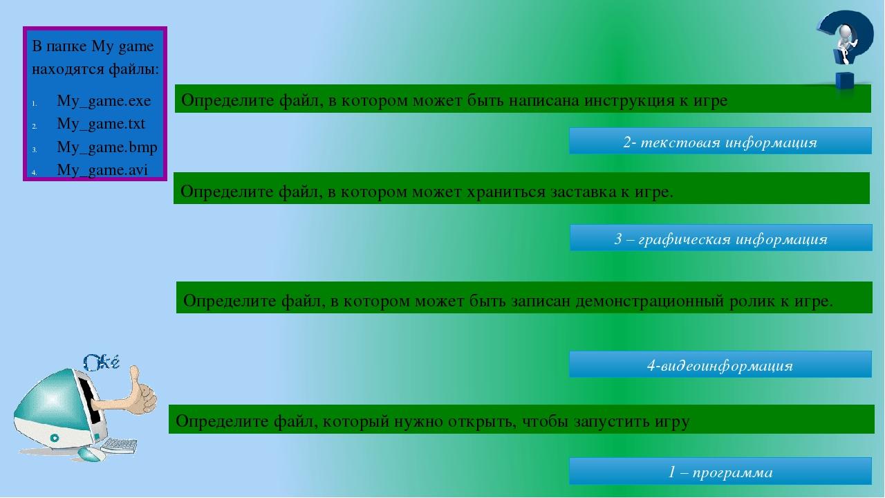 2- текстовая информация 3 – графическая информация 4-видеоинформация 1 – программа Определите файл, в котором может быть написана инструкция к игре...