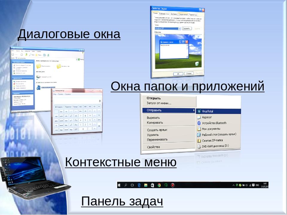 Диалоговые окна Окна папок и приложений Контекстные меню Панель задач