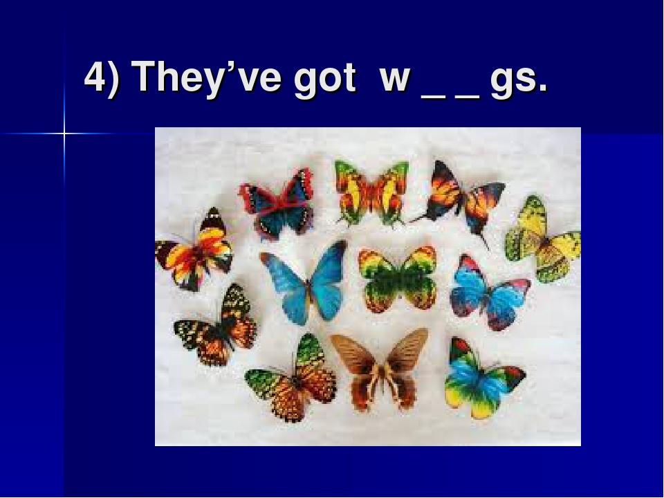 4) They've got w _ _ gs.